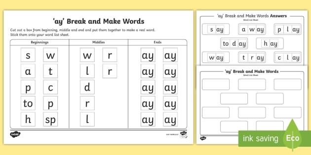Ay Sound Break And Make Worksheet Teacher Made