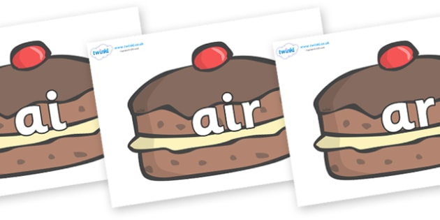 Phase 3 Phonemes on Chocolate Buns - Phonemes, phoneme, Phase 3, Phase three, Foundation, Literacy, Letters and Sounds, DfES, display