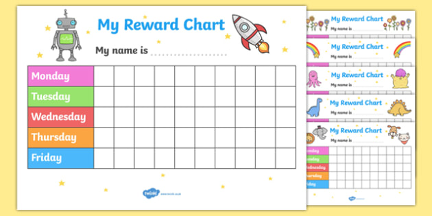 My Reward Chart  Reward Chart Pack Free Reward Chart My