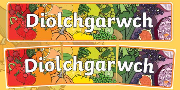 Baner Diolchgarwch Baner Arddangosfa-Welsh