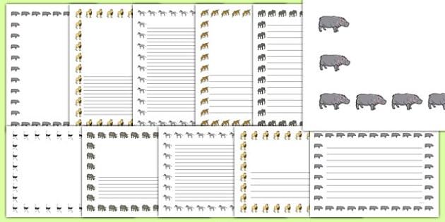 Bordures de page décoratives : Le safari - écriture, écrire, production d'écrits, Afrique, africain, animal, animaux, cycle 1