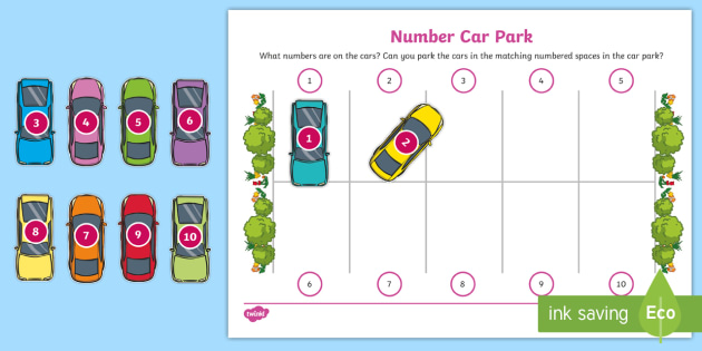 new car park numeral recognition and matching activity sheets eyfs. Black Bedroom Furniture Sets. Home Design Ideas