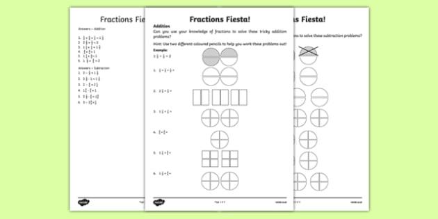 Fractions Fiesta Activity Sheet, worksheet