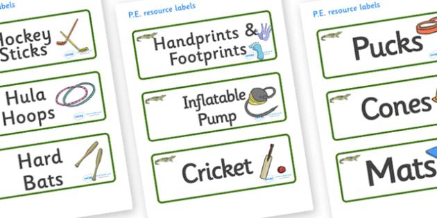 Crocodile Themed Editable PE Resource Labels - Themed PE label, PE equipment, PE, physical education, PE cupboard, PE, physical development, quoits, cones, bats, balls, Resource Label, Editable Labels, KS1 Labels, Foundation Labels, Foundation Stage