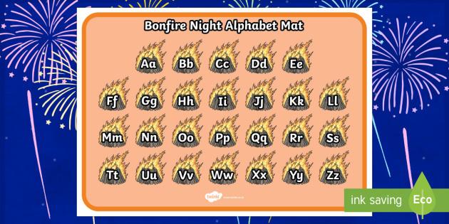 Bonfire Themed Alphabet Mat