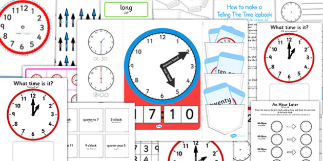 Telling The Time Lapbook Creation Pack Arabic Translation - arabic, lapbooks, pack, time, clocks, anaologue, maths