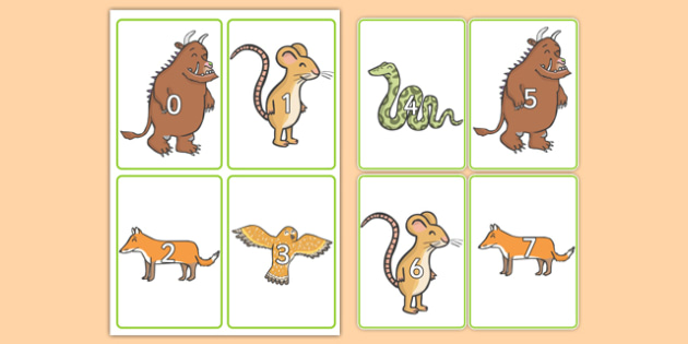 Number Flashcards 0-20 to Support Teaching on the Gruffalo - the gruffalo, numbers, 0-20, gruffalo, number