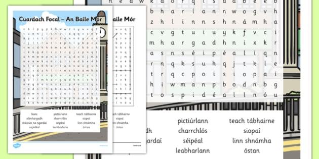 Big Town Word Search Gaeilge - An Baile Mór, irish, shopping, town, transport, siopadóireacht, grocery store,wordseaches, wordserach, wordserch, wordearch