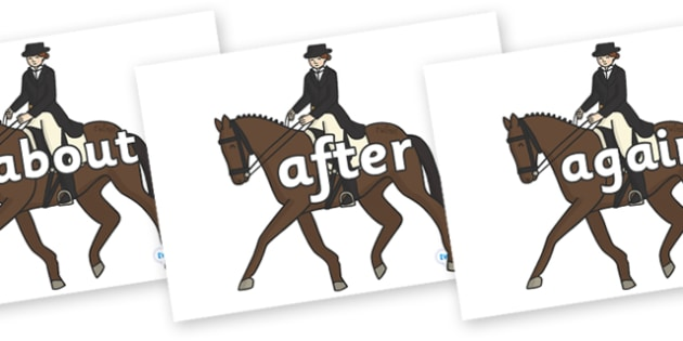KS1 Keywords on Equestrian (Horses) - KS1, CLL, Communication language and literacy, Display, Key words, high frequency words, foundation stage literacy, DfES Letters and Sounds, Letters and Sounds, spelling
