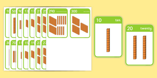 Counting with Base 10 Flashcards -  tens, ten times table, multiples of 10, multiples of ten, dienes
