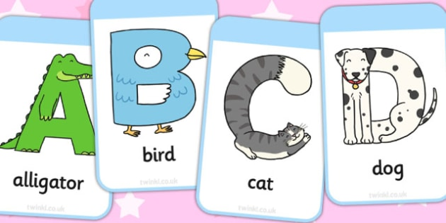 Animal Alphabet Flashcards - animal, alphabet, flashcards, cards