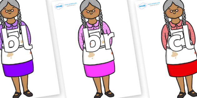 Initial Letter Blends on Little Old Woman - Initial Letters, initial letter, letter blend, letter blends, consonant, consonants, digraph, trigraph, literacy, alphabet, letters, foundation stage literacy