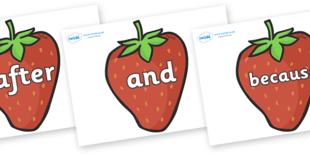 Connectives on Strawberries - Connectives, VCOP, connective resources, connectives display words, connective displays