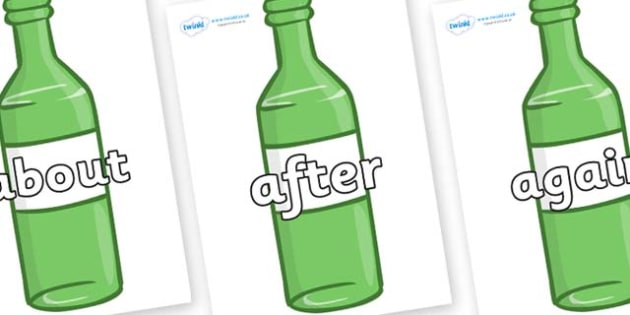 KS1 Keywords on Green Bottles - KS1, CLL, Communication language and literacy, Display, Key words, high frequency words, foundation stage literacy, DfES Letters and Sounds, Letters and Sounds, spelling