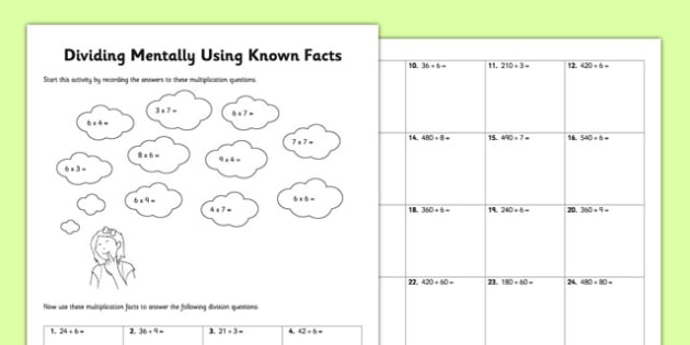 Dividing Mentally Using Known Facts - derive, inverse, dividing, mentally, facts