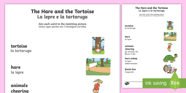 The Tortoise And The Hare Word And Picture Matching Worksheet