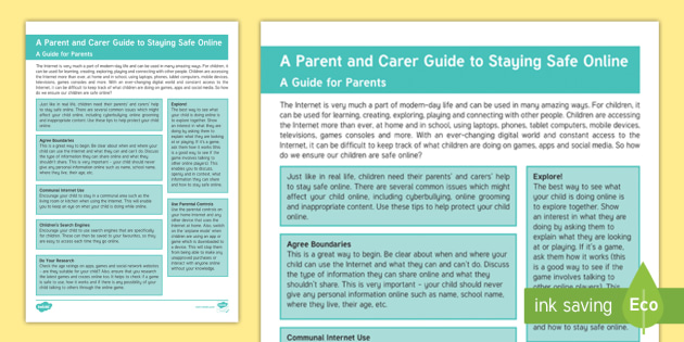 How to be a better online parent? 'the parents' and carers' guide.