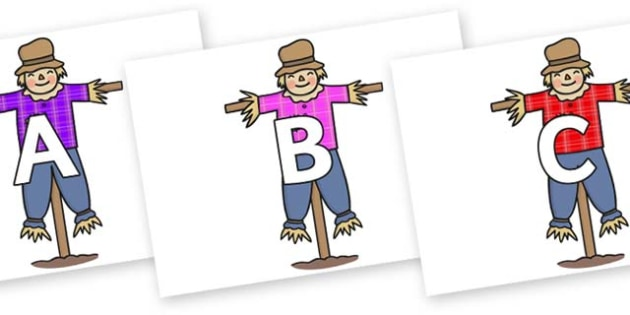 A-Z Alphabet on Scarecrows - A-Z, A4, display, Alphabet frieze, Display letters, Letter posters, A-Z letters, Alphabet flashcards