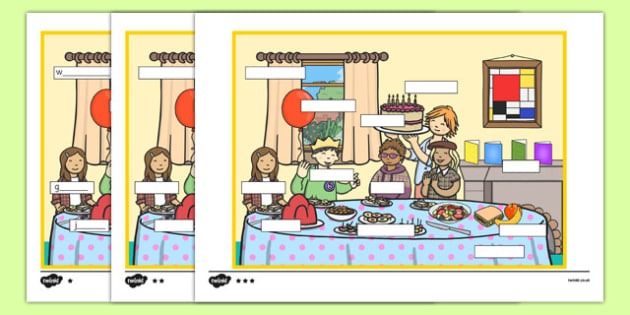 Birthday Party Differentiated Labelling Activity - matching, language development, keywords, expressive skills, first words