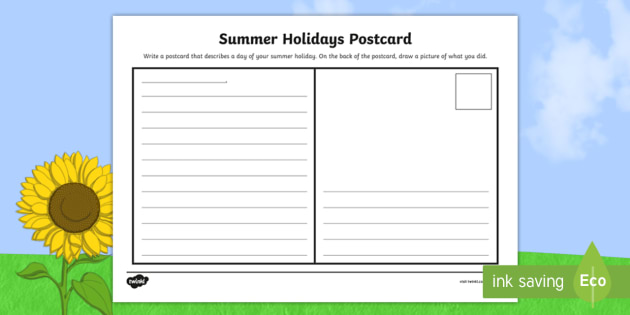 summer holidays postcard worksheet send recount write letter address. Black Bedroom Furniture Sets. Home Design Ideas