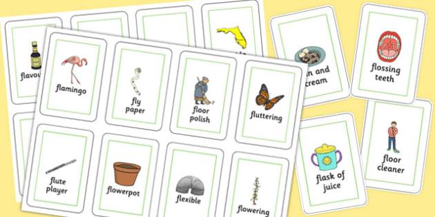 Three Syllable FL Flash Cards - three syllable, fl, flash cards, flash, cards, speech, language