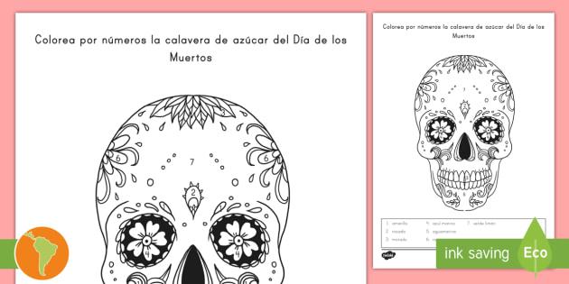 Colorear Con Números: La Calavera Del Día De Los Muertos