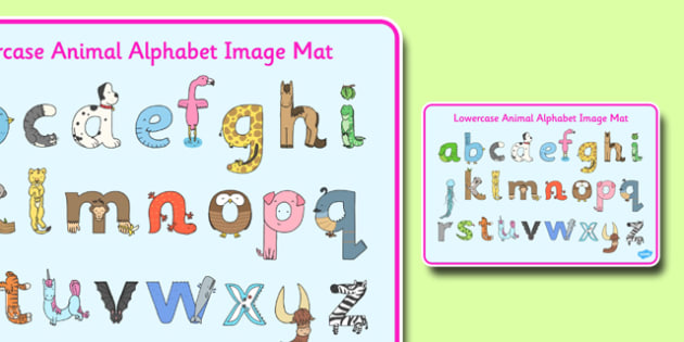 Lower Case Animal Alphabet Image Mat - lower case, animal, image mat, image, mat