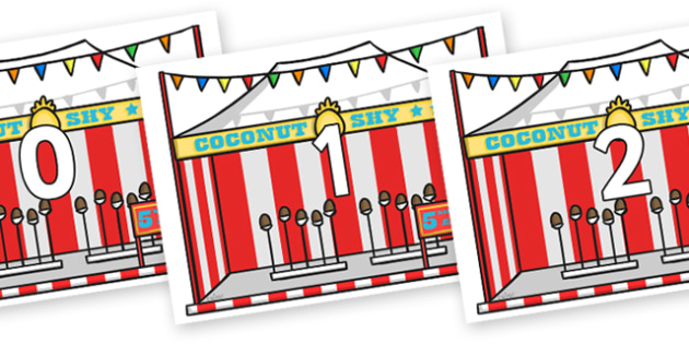 Numbers 0-100 on Fairground Coconut Stands - 0-100, foundation stage numeracy, Number recognition, Number flashcards, counting, number frieze, Display numbers, number posters