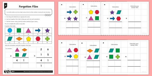 Adding 2 Two-Digit Numbers, Bridging Through Ten Activity Sheet - Addition and Subtraction, add, more, plus, and, make, altogether, total, equal to, equals, worksheet