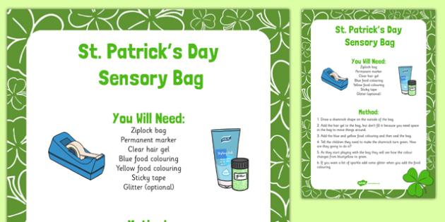 St. Patrick's Day Sensory Bag - St Patricks Day, sensory bag, sensory, bag