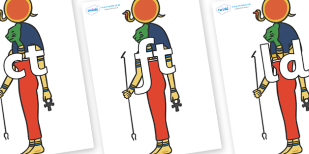 Final Letter Blends on Egyptian Icons - Final Letters, final letter, letter blend, letter blends, consonant, consonants, digraph, trigraph, literacy, alphabet, letters, foundation stage literacy