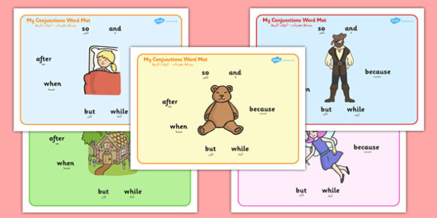 Conjunctions Word Mats Arabic Translation - arabic, Connectives