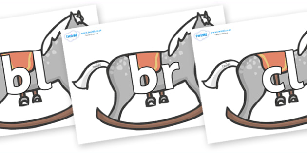 Initial Letter Blends on Rocking Horses - Initial Letters, initial letter, letter blend, letter blends, consonant, consonants, digraph, trigraph, literacy, alphabet, letters, foundation stage literacy