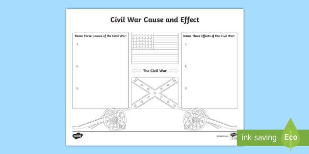 Civil War Cause And Effect Worksheet United States