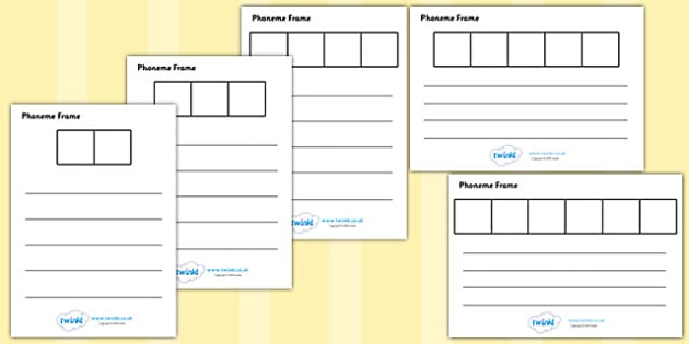 Phoneme Frames - Phoneme Frames printable, phoneme frame, phoneme, phonemes, Segmenting, DfES Letters and Sounds, Letters and sounds, KS1 Literacy, Phase one, Phase 1, Phase two, Phase 2, Phase three, Phase 3, segmenting, word frames