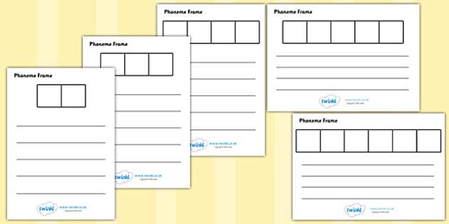 Phoneme Graphic Organizers - Phoneme Frames printable, phoneme frame, phoneme, phonemes, Segmenting, DfES Letters and Sounds, Letters and sounds, KS1 Literacy, Phase one, Phase 1, Phase two, Phase 2, Phase three, Phase 3