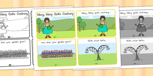 Mary Mary Quite Contrary Story Sequencing 4 per A4 - australia