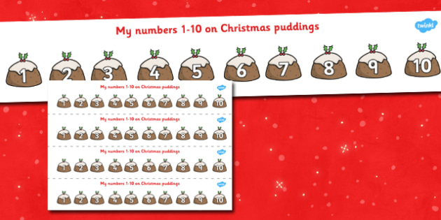 1-10 Christmas Puddings - 1-10, christmas, puddings, counting