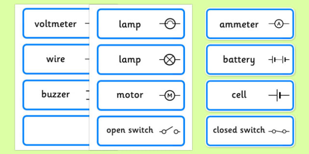 Electric Circuit Symbol Word Cards