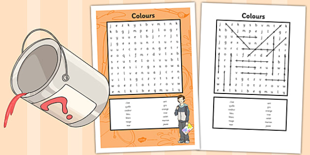 French Colours Word Search - french, colours, word search, words