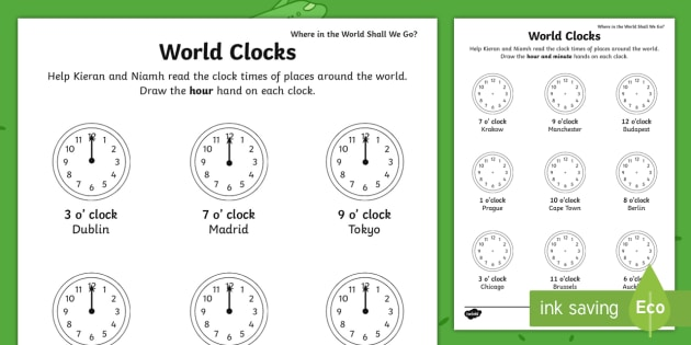 Where in the World Shall We Go? World Clocks Worksheet ...