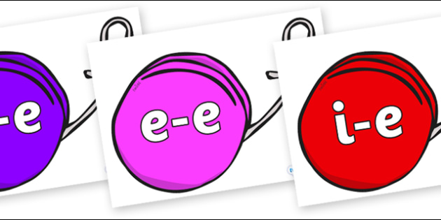 Modifying E Letters on Yo Yos - Modifying E, letters, modify, Phase 5, Phase five, alternative spellings for phonemes, DfES letters and Sounds