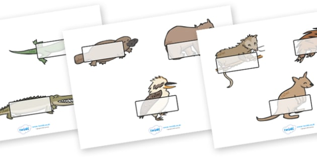 Editable Self Registration Labels (Australian Animals) - Self registration, register, Ausralia, animal, editable, labels, registration, child name label, printable labels