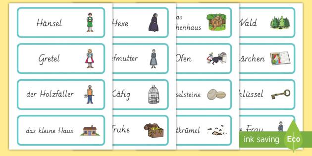 Hänsel und Gretel Wort- und Bildkarten - Hänsel und Gretel, Märchen, Wort und Bildkarten, Wortschatz, German