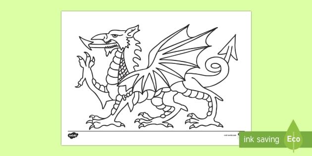 welsh dragon colouring page st davids day saint daviddydd gwyl dewi