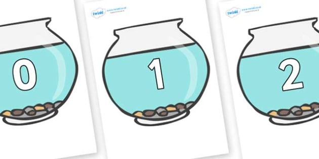 Numbers 0-100 on Fish Bowls - 0-100, foundation stage numeracy, Number recognition, Number flashcards, counting, number frieze, Display numbers, number posters