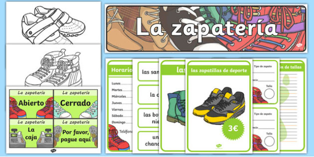 Shoe Shop Role Play Pack Spanish - spanish, Shoe shop, shoes, role play, pack, shop, trainers, shoe box, labels, measuring chart, word cards