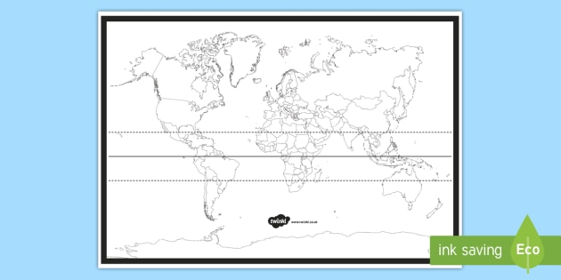 New Blank World Map With Equator And Tropics Blank World Map World