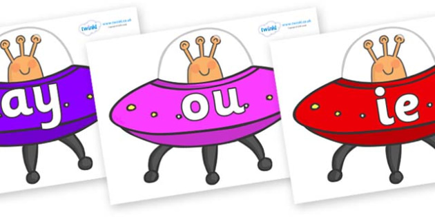 Phase 5 Phonemes on Spaceships - Phonemes, phoneme, Phase 5, Phase five, Foundation, Literacy, Letters and Sounds, DfES, display