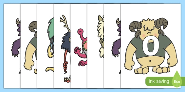 Numbers 0-31 on Monsters - 0-31, foundation stage numeracy, Number recognition, Number flashcards, counting, number frieze, Display numbers, number posters